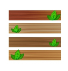 wooden banners with leaves vector image