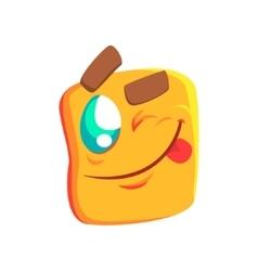 Yellow Winking Emoji Cartoon Square Funny vector image vector image