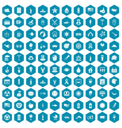 100 summer holidays icons sapphirine violet vector image vector image