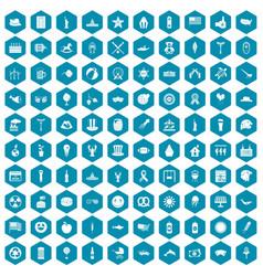100 summer holidays icons sapphirine violet vector image