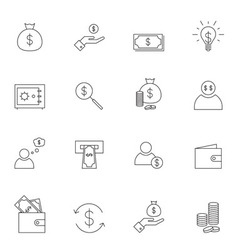 Money icon set outline vector