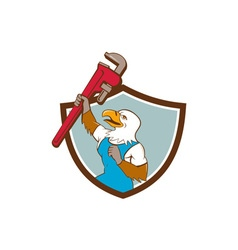 Eagle plumber raising up pipe wrench crest cartoon vector