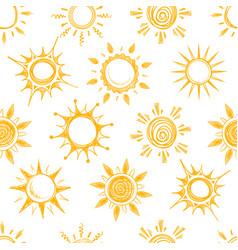 Funny yellow summer sun seamless pattern vector
