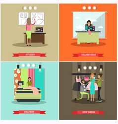 Set of fashion atelier flat posters vector
