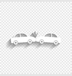 Crashed cars sign  white icon with soft vector