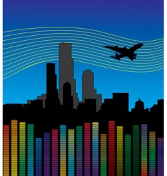 city with airplane and equalizer vector image