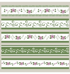 Set of ribbons abstract floral pattern vector