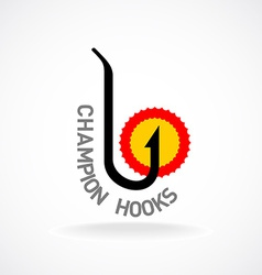 Fishing hook sign champion logo vector