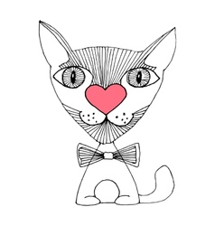 Cat love sketch vector