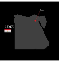 Detailed map of egypt and capital city cairo with vector