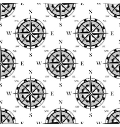 Nautical compass black and white seamless pattern vector