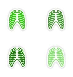 Set paper stickers on white background bone ribs vector