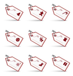 White and red christmas gift tags and labels set vector