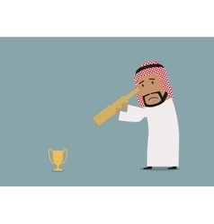Arabian businessman looking at prize vector
