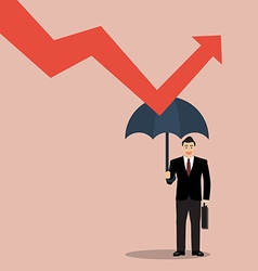 Businessman holding umbrella protect graph down vector
