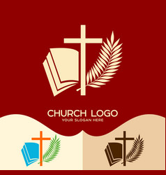 Cross of jesus open bible and palm branch vector