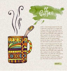 decorative sketch of cup of coffee vector image vector image