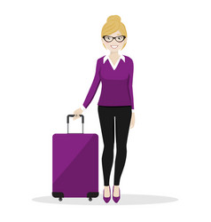 executive female walking with her suitcase vector image vector image