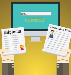 Flat design concept for online job search on vector