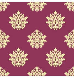 Floral yellow damask seamless patternon vector