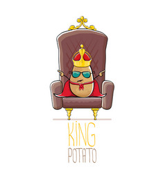 Funny cartoon cool cute brown smiling king vector