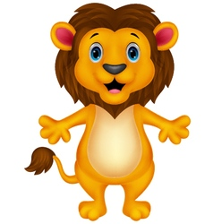 Funny lion cartoon waving vector