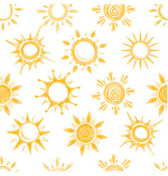 Funny yellow summer sun seamless pattern vector