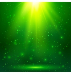 Green shining magic light background vector image