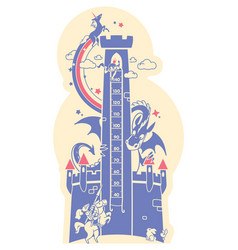 Height charts fairytale castle meter wall or vector