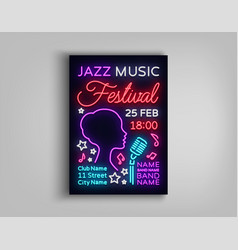 jazz festival poster neon neon sign neon style vector image