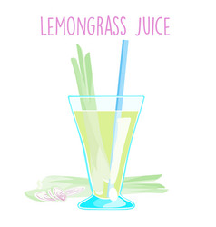 Lemon grass juice on white background vector