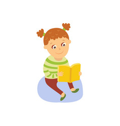 little girl reading a book sitting on the floor vector image vector image