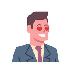 male happy smiling heart shape eyes emotion icon vector image