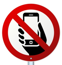 No mobile phones sign over white vector image vector image