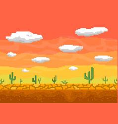 pixel art desert seamless background vector image vector image