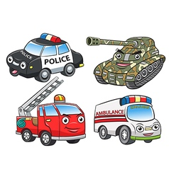 Police fire ambulance tank cartoon vector