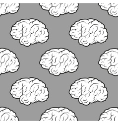Seamless brains on the grey background vector