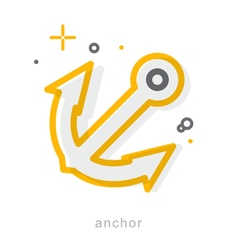 Thin line icons anchor vector