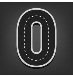 Zero number road font vector