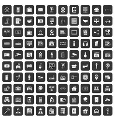 100 camera icons set black vector