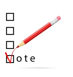 Checkboxes for voting with a red pencil vector