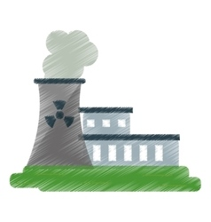 Nuclear power station energy pollution ed vector