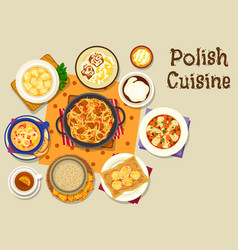 Polish cuisine lunch icon for menu design vector