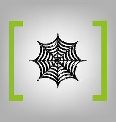 spider on web   black scribble vector image