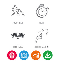 race flags travel timer and petrol station vector image