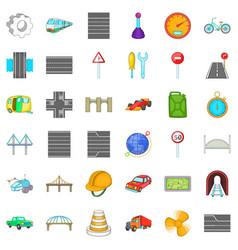Rail bridge icons set cartoon style vector