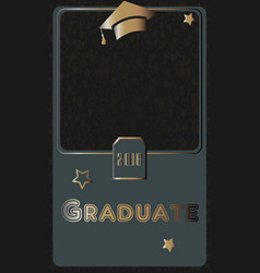 2018 graduate photo frame rich golden style on vector image