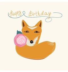Happy Birthday fox greeting card design vector image