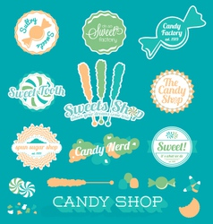 Candy shop icons and labels vector