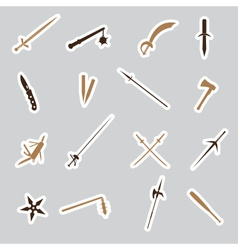 Cold steel weapons stickers eps10 vector